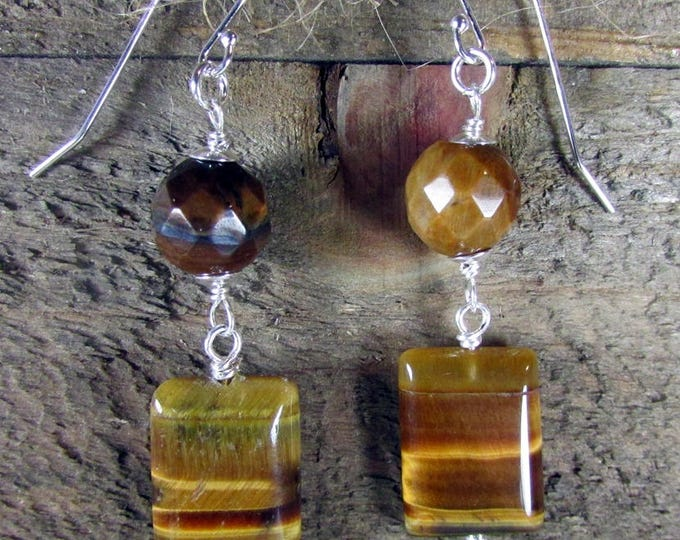 Golden Tiger Eye Earrings | Tiger Eye Dangles | Gemstone Jewelry