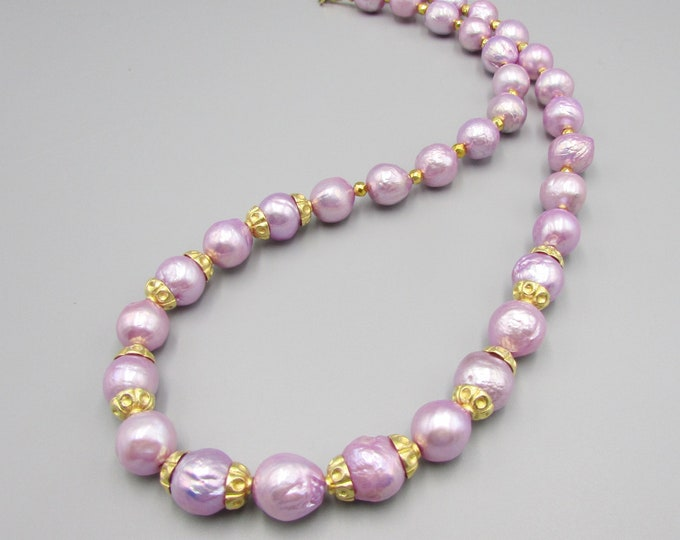 Lavender Kasumi Like Pearl Necklace, Pearl Statement Necklace, Classic Pearls