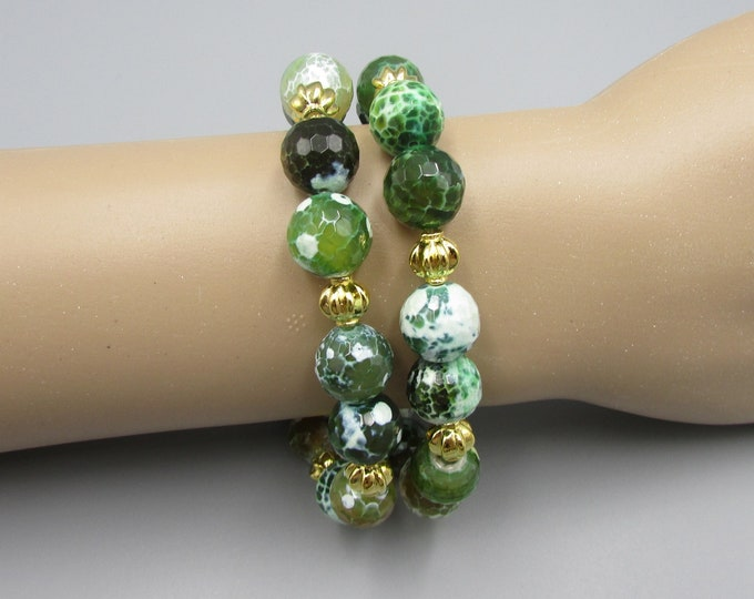 Green Agate Bracelet | Stacking Bracelets
