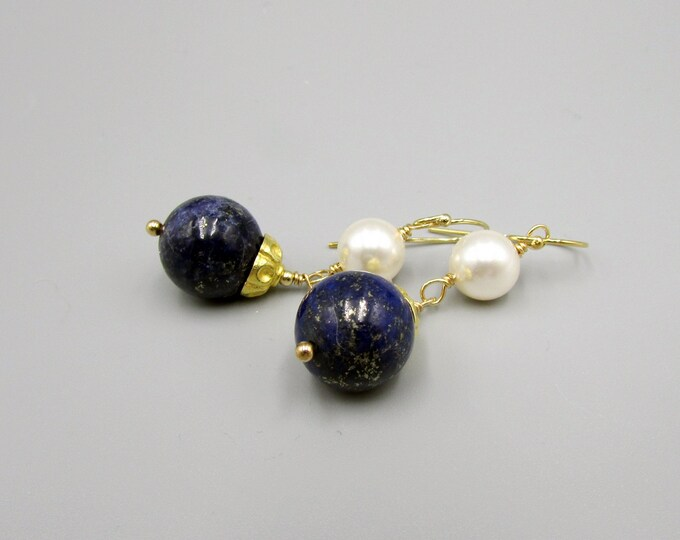 Lapis & Pearl Earrings | Round Stone Earrings | Dark Blue Dangles |