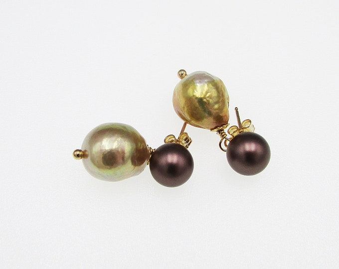 Baroque Bronze Pearl Earrings | Brown Pearl Stud Dangles | Unique Pearl Earrings