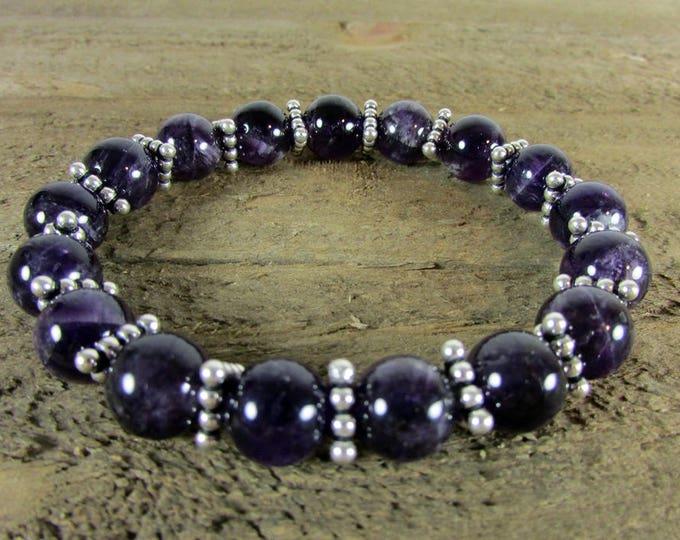 Amethyst Stretch Bracelet   Round Stone Bracelets   Deep Purple Bracelets