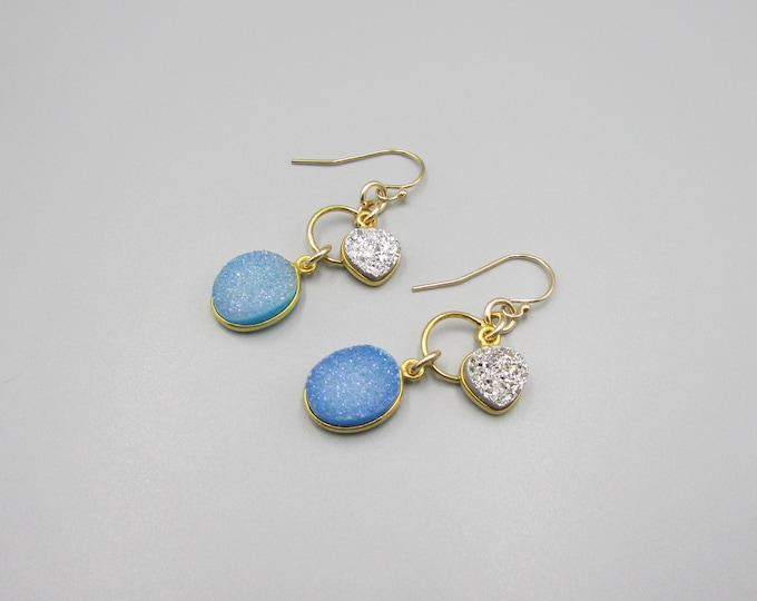 Blue Druzy Earrings | Statement Earrings
