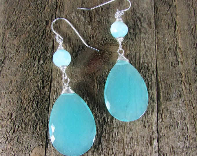 Peru Opal Chalcedony Earrings | Light Blue Earring | Bold Earrings