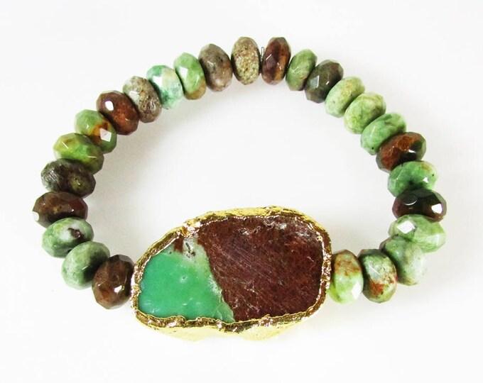 Chrysoprase Gemstone Bracelet | Bold Bracelets | Stretch Bracelets | Signature Jewelry