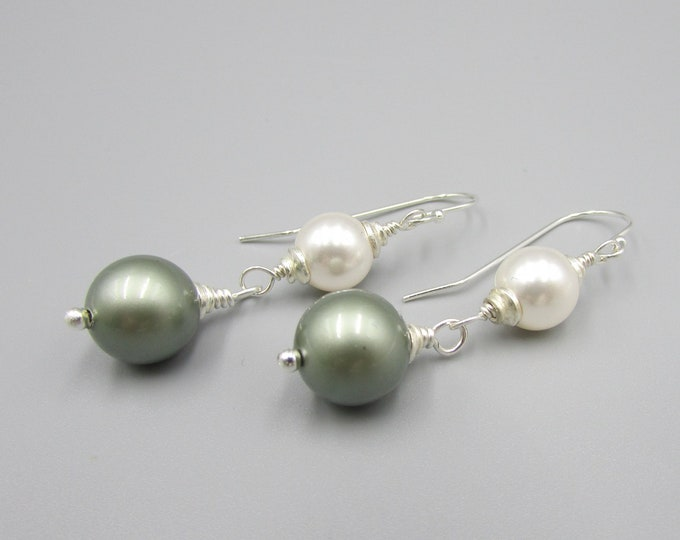 Long Pearl Earrings | Green Pearl Drop Earrings | Classic Pearls
