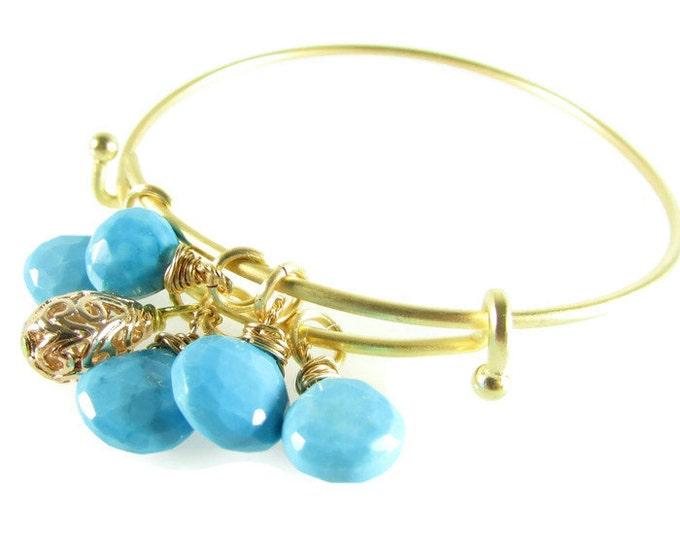 Gemstone Charm Bracelets | Adjustable Gold Bangles | Mystic Labradorite | Real Turquoise | Blue Lapis
