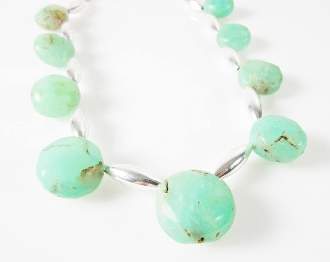 Chrysoprase Necklace | Light Green Gemstone Choker | Round Stone Necklace