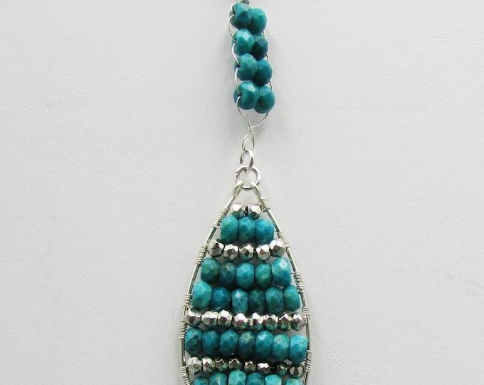 Long Turquoise Necklace Silver | December Birthstone