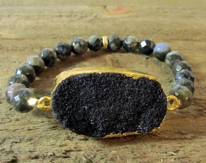 Black Opal Bracelet | Round Stone Bracelet | Signature Jewelry | Druzy Focal Stretch Bracelets