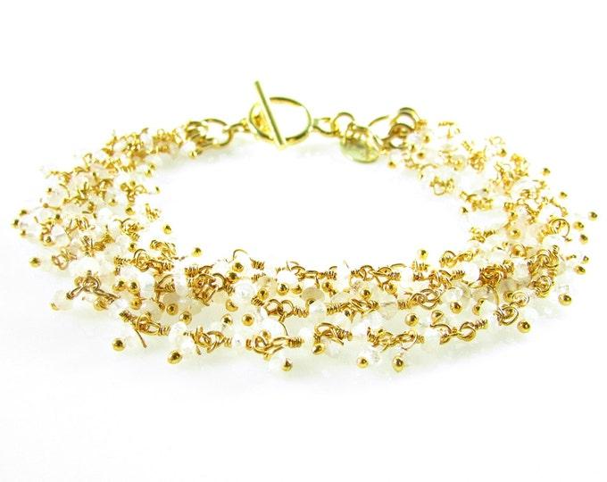 Rainbow Moonstone Bracelet | Moonstone Jewelry | Rosary Chain Bracelets | High Fashion Jewelry