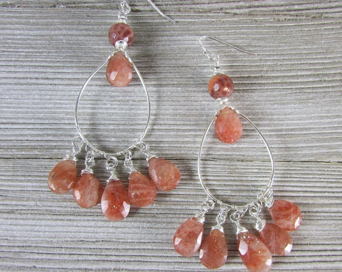 Sunstone Earrings | Gypsy Earrings | Long Dangles | Statement Earrings