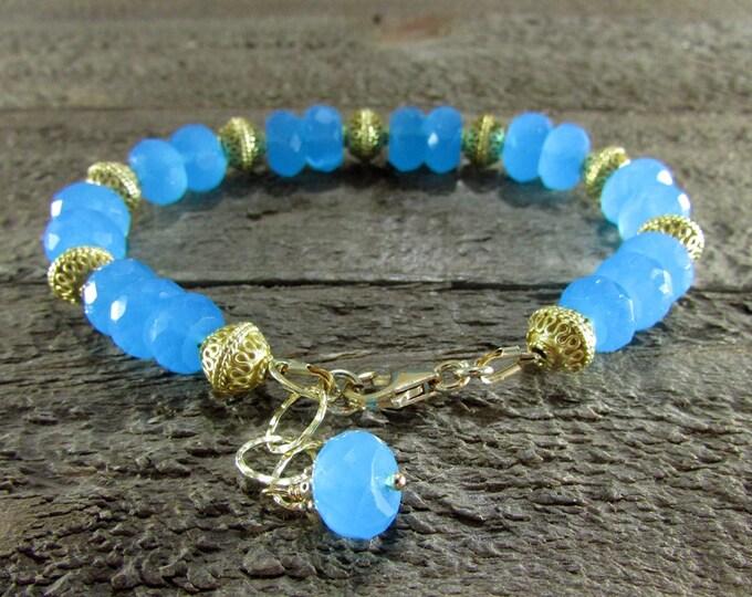 Blue Chalcedony & Gold Gemstone Bracelet
