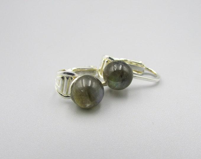 Labradorite Cabochon Clip on Earrings | Sterling Stone Clip Earrings | Simple Earrings