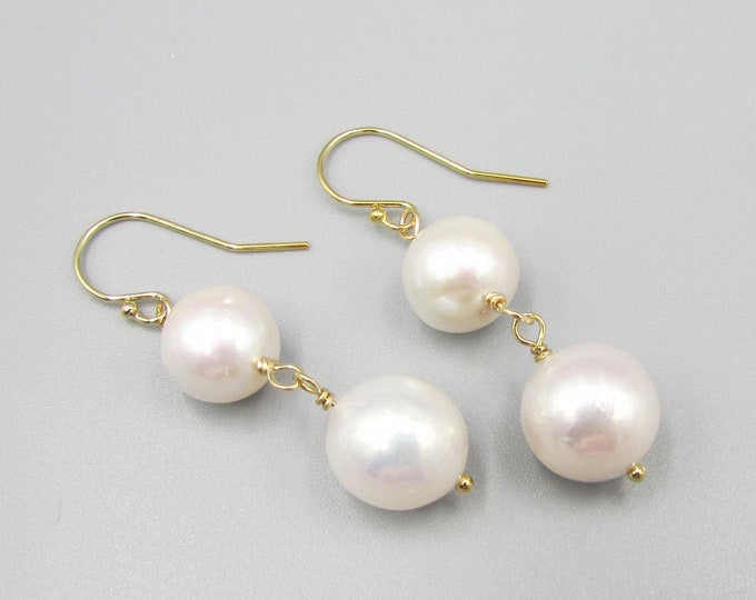White Long Pearl Earrings | Long Pearl Dangles | Classic Pearls | Edison Pearls