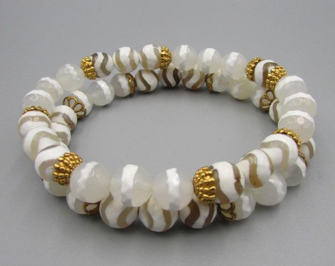 White Dzi Agate Bracelets | Tibetan Bracelets | Signature Jewelry