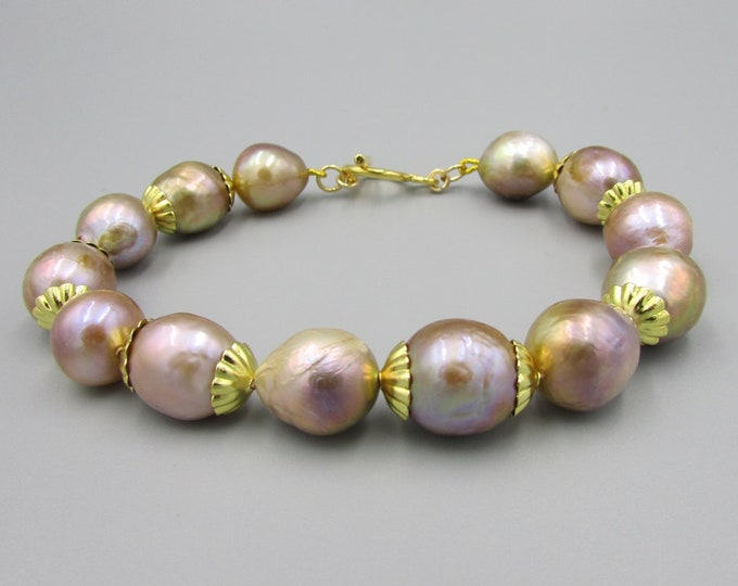 Baroque Pearl Bracelet Gold Hand Knotted