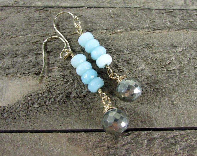 Peruvian Opal Earrings | Blue Opal Dangles | Pyrite Drops | Everyday Earrings | Gold Filled Jewelry
