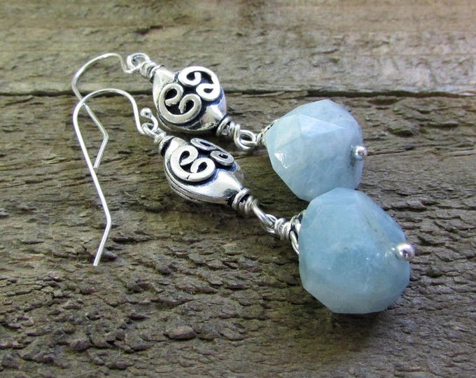 Aquamarine Nugget Earrings, Baby Blue Earrings, Sterling Silver Jewelry, March Birthstone
