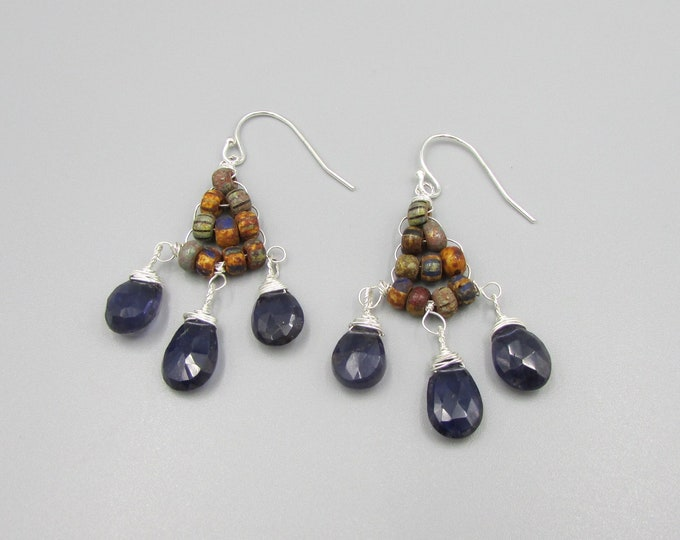 Iolite Earrings | Gypsy Earrings | Wire Wrapped Dangles |