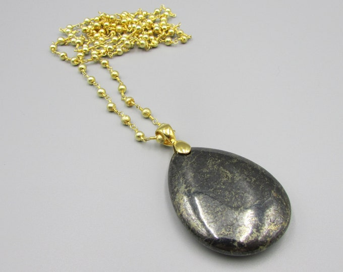 Pyrite Pendant Necklace | Gold Pyrite Rosary Chain Long Necklace | Statement Necklace