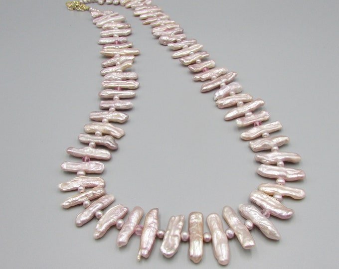 Long Biwa Pearl Necklace, Pink Pearls, Statement Necklace, Wedding Jewelry
