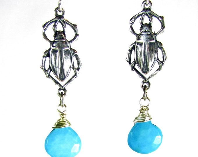 Egyptian Scarab Dangle Earrings | Blue Turquoise Earrings | Gemstone Earrings | Boho Earrings