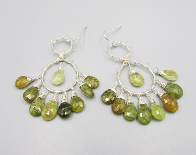 Green Garnet Chandelier Earrings | Gypsy Earrings | January Birthstone | Wire Wrapped Dangles