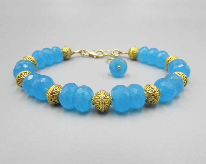 Blue Chalcedony & Gold Gemstone Bracelet