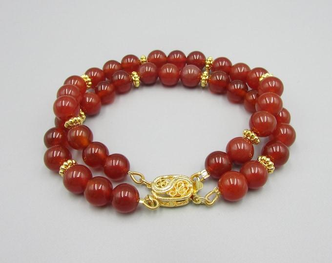 Carnelian Gemstone Bracelet | Round Stone Bracelet | Red Orange Bracelet | Caramel Jewelry | Signature Bracelets