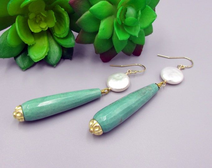 Long Chrysoprase & Pearl Earrings