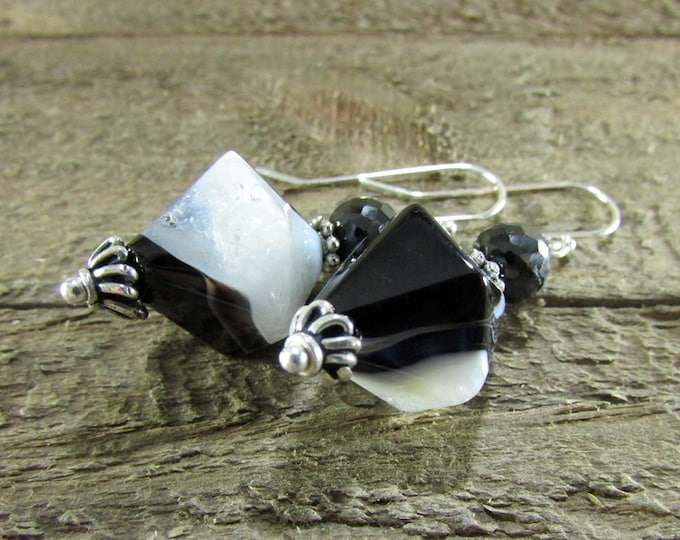 Black & White Agate Earrings | Gemstone Earrings | Sterling Silver Jewelry | Bold Earrings