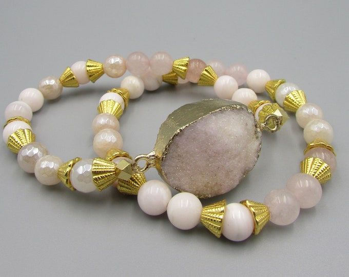 Pink & Gold Stretch Bracelet Set, Rose Quartz Pink Calcite Druzy Bracelet