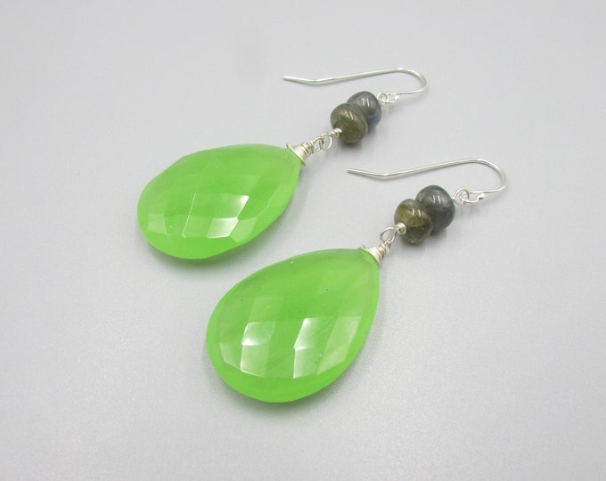 Green Chalcedony Earrings | Statement Earrings