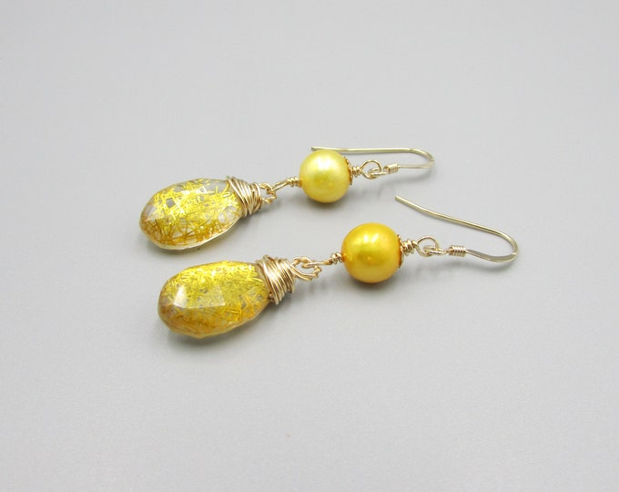 Pearl & Gold Quartz Earrings | Signature Earrings