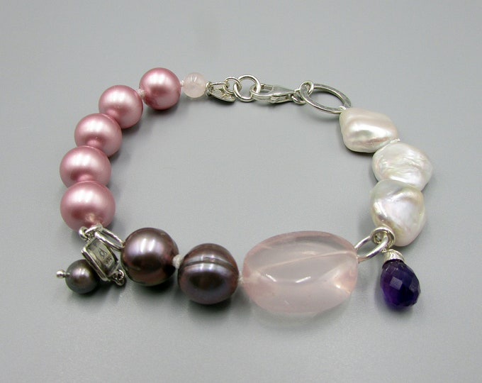 Pearl Bracelet | Hand Knotted | Rose Quartz | Statement Bracelets
