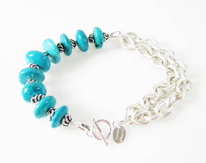 Turquoise & Multi Strand Chain Bracelet, Turquoise Bracelet, Gemstone Jewelry, Blue Bracelet