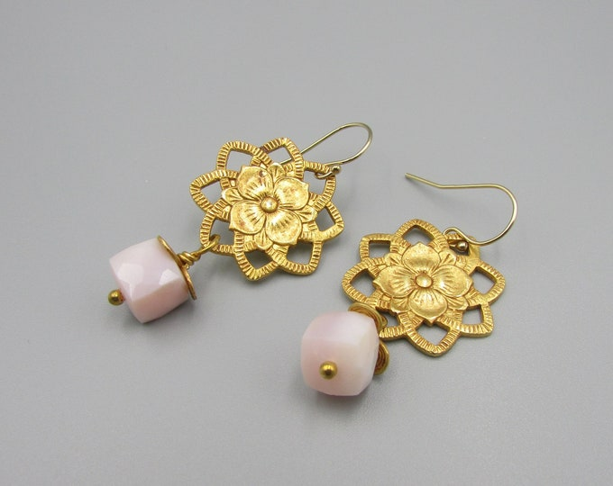 Pink Opal Earrings | Pink Peruvian Opal Dangles | Gold Drop Earrings | Peru Opal Earrings