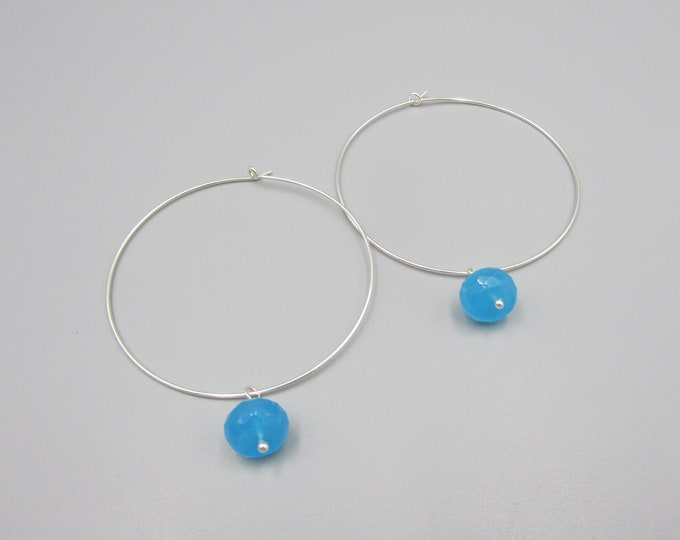 Extra Large Hoops | Big Hoop Earrings | Blue Chalcedony Charm Earring
