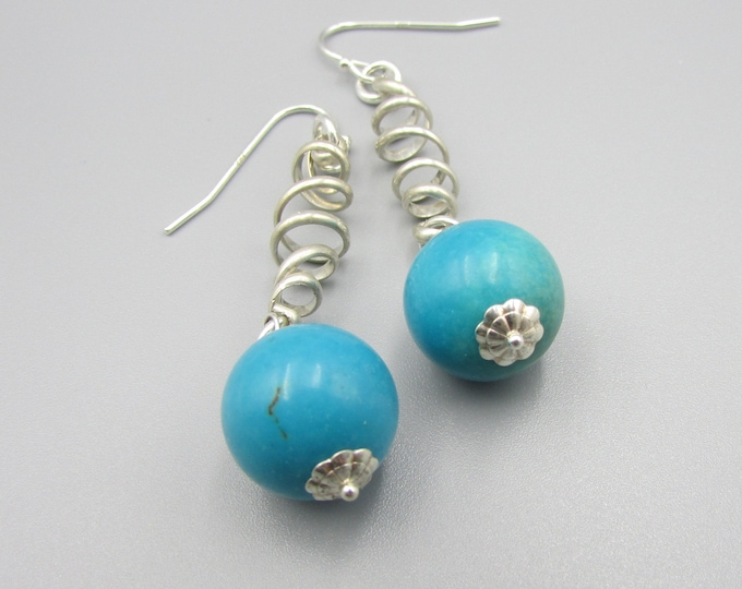 Turquoise Long Sterling Earrings