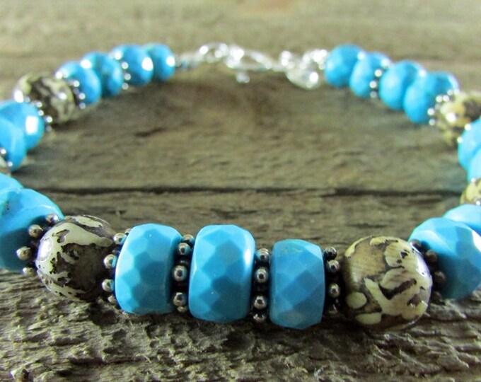 Nepal Shell Bead Bracelet | Light Blue Turquoise Bracelet | Signature Jewelry