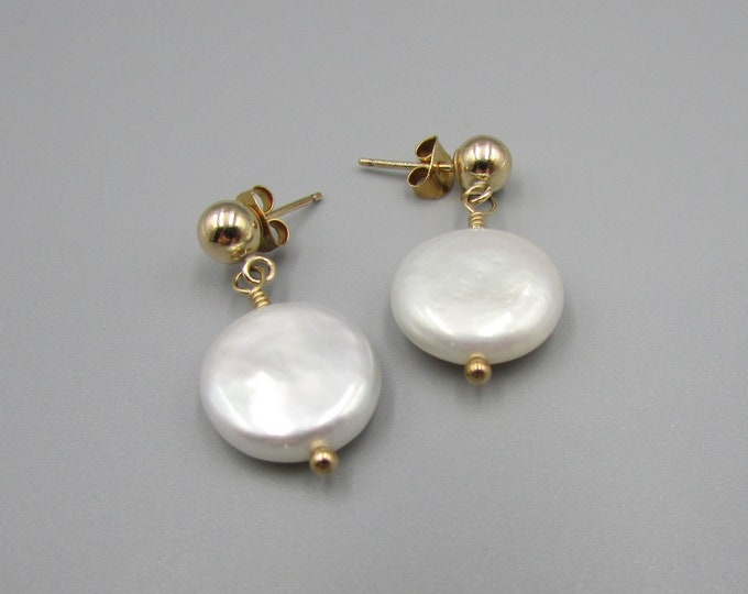 White Pearl Coin Earrings | Gold Stud Freshwater Pearl Dangles | Pearl Post Earrings