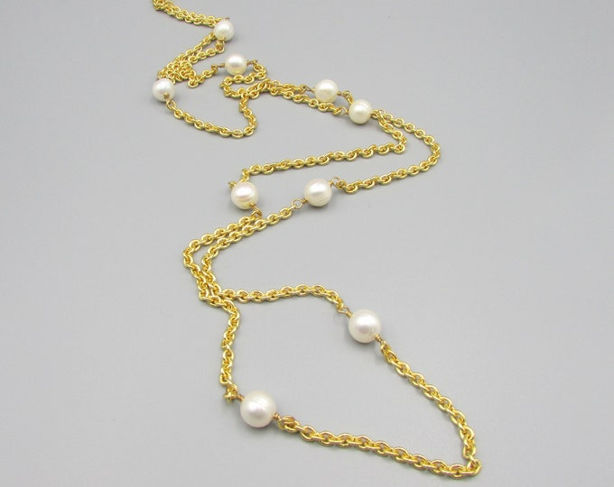 Gold Chain Pearl Necklace | Freshwater Pearl Necklace | Simple Necklaces | Signature Necklace