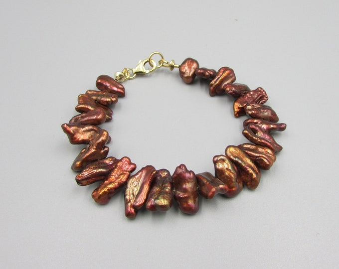 Biwa Pearl Bracelet | Dark Copper Bracelet | Jewelry Gifts