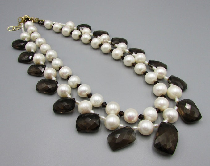 Pearl Choker Smoky Quartz Choker Necklace, Statement Necklace