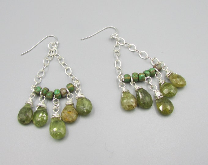 Green Garnet Chandelier Earrings | Garnet and Silver Earrings | January Birthstone | Boho Earrings