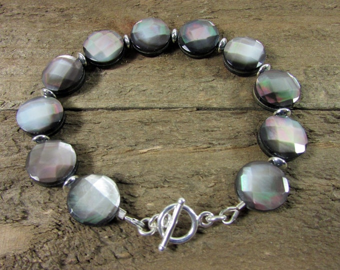 Black Shell & Sterling Silver Bracelet