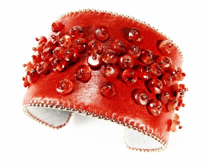Fine Leather & Carnelian Gemstone Cuff Bracelet