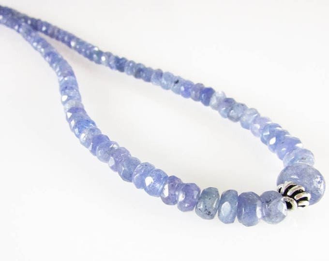 Graduating Tanzanite Necklace, Light Blue Gemstone Necklace, Sterling Silver Jewelry