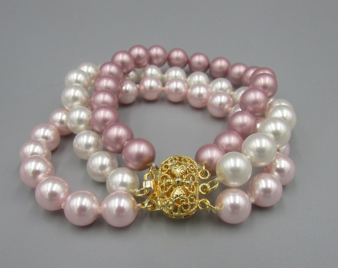Multi Strand Pearl Bracelet Hand Knotted | Triple Strand Pearl Bracelet | Pink Pearl Bracelet | Bridal Jewelry